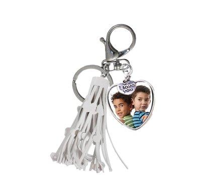 Sleutelhanger met foto Foto Sleutelhanger hart tassel wit
