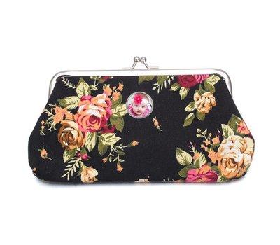 Portemonnee met foto Knip portemonnee groot bloemen zwart met foto