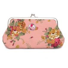 Portemonnee met foto Knip portemonnee groot bloemen roze met foto