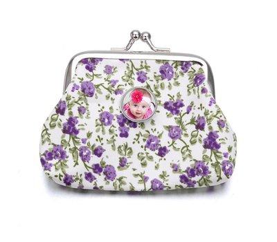 Portemonnee met foto Knip portemonnee flowers paars met foto