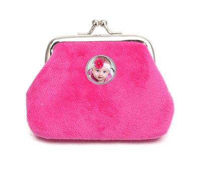Portemonnee met foto Knip portemonnee fluweel donker roze met foto