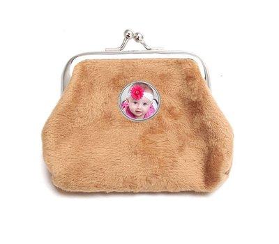 Portemonnee met foto Knip portemonnee fluweel beige met foto