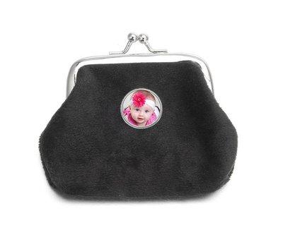 Portemonnee met foto Knip portemonnee fluweel zwart met foto