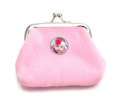Portemonnee met foto Knip portemonnee fluweel licht roze met foto