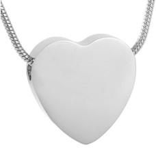 Assieraden | Assieraad Ashanger hart egaal zilver inclusief ketting