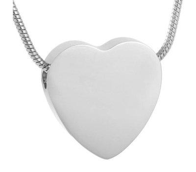 Ashangers Ashanger hart egaal zilver inclusief ketting