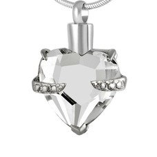 Assieraden Assieraad Ashanger crystal hart clear zilver inclusief ketting