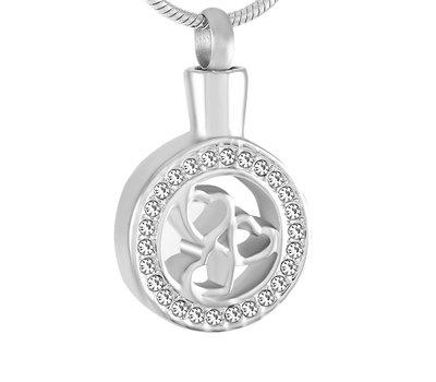 Ashangers Ashanger hartjes in rondje zilver inclusief ketting