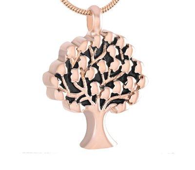Assieraden Assieraad Ashanger levensboom rose goud inclusief ketting