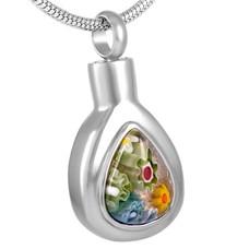 Assieraden Assieraad Ashanger Murano druppel zilver  inclusief ketting