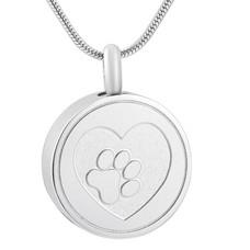 Assieraden | Assieraad Ashanger rond met hartje en hondenpootje zilver inclusief ketting