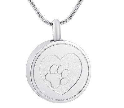 Assieraden Assieraad Ashanger rond met hartje en hondenpootje zilver inclusief ketting