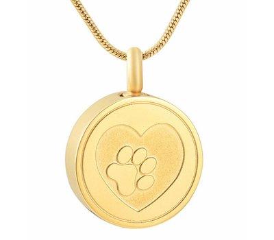 Assieraden Assieraad Ashanger rond met hartje en hondenpootje goud inclusief ketting