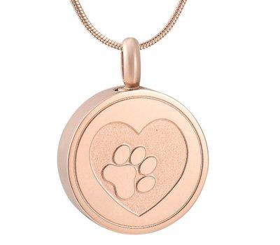 Assieraden Assieraad Ashanger rond met hartje en hondenpootje rose goud inclusief ketting