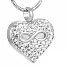 Ashangers Ashanger hartje met infinity en crystals zilver