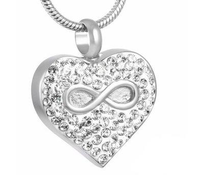 Assieraden Assieraad Ashanger hartje met infinity en crystals zilver inclusief ketting