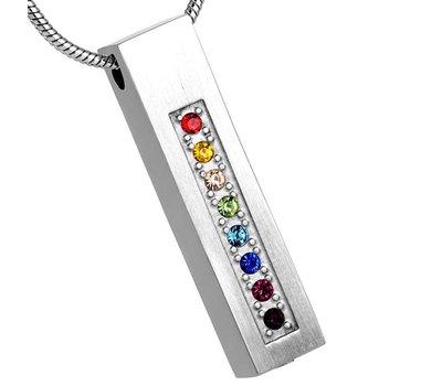 Assieraden Assieraad Ashanger rechthoek multicolor zilver inclusief ketting