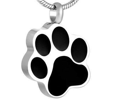 Assieraden Assieraad Ashanger hondenpoot zwart zilver inclusief ketting