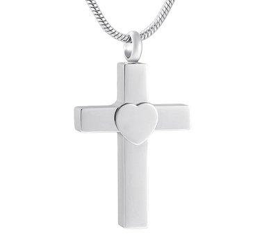 Ashangers Ashanger kruis met hartje zilver inclusief ketting