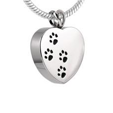 Assieraden Assieraad Ashanger hartje met hondenpootjes zilver inclusief ketting