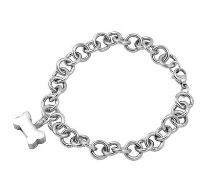 Assieraden As armband met asbedel hondenbotje zilver