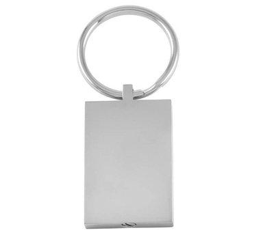 Assieraden As sleutelhanger met foto rechthoek zilver