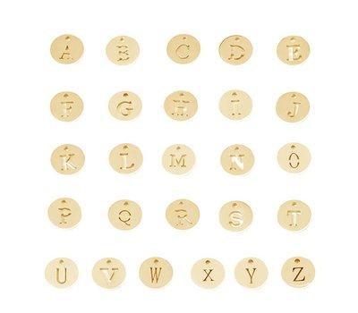 Assieraden Letter bedeltje goud