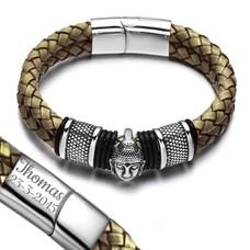 Graveer Armbanden Armband Boeddha met dubbel Gevlochten Leer Beige