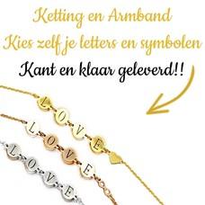 Kies zelf je letter of naam ketting of armband in Zilver en Goud
