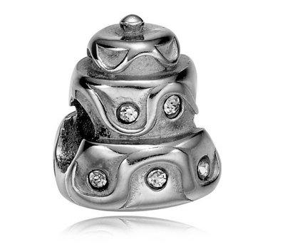 Bedels en Kralen Bedel bruidstaart zilver voor bedelarmbanden