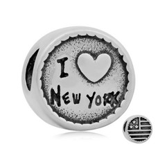 Bedels Kralen I love New York bedel zilver