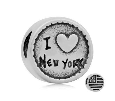 Bedels Kralen I love New York bedel zilver