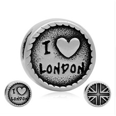 Bedels Kralen I love London  bedel zilver