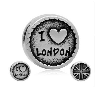 Bedels Kralen I love London bedel zilver