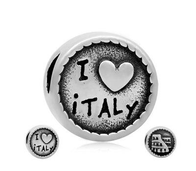 Bedels Kralen I love Italy bedel zilver