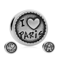 Bedels Kralen I love Paris bedel zilver