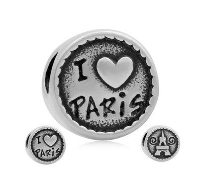 Bedels Kralen I love Paris bedel zilver