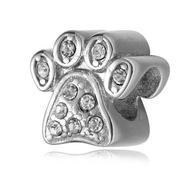 Bedels en Kralen Bedel hondenpoot crystal zilver voor bedelarmbanden