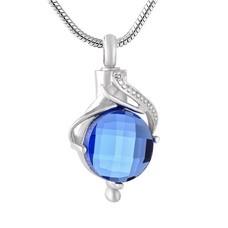 Assieraden Assieraad Ashanger teardrop blue zilver inclusief ketting