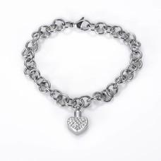 Assieraden As armband met asbedel hartje met crysals zilver