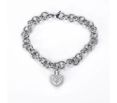 As Armbanden As armband met asbedel hartje met crysals zilver