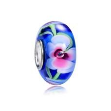 Glas Bedels Glas Bedel blauw met wit en roze bloem