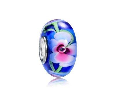 Glas Bedels |  Glas Bedel blauw met wit en roze bloem voor bedelarmbanden