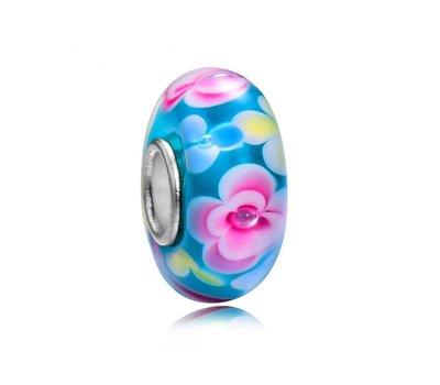 Glas Bedels |  Glas Bedel blauw met roze bloemen voor bedelarmbanden