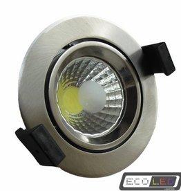 Eco-LED 8W COB LED downlight inbouwspot, kantelbaar, dag licht, inox.