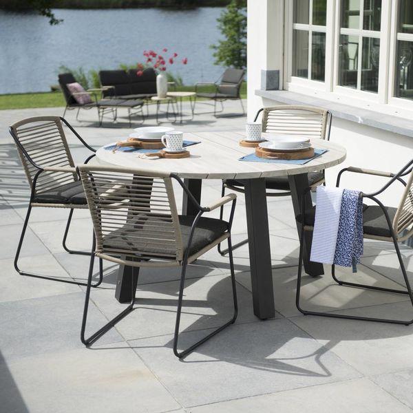 4 Seasons Outdoor Derby tafel Teak/Alu Ø130cm