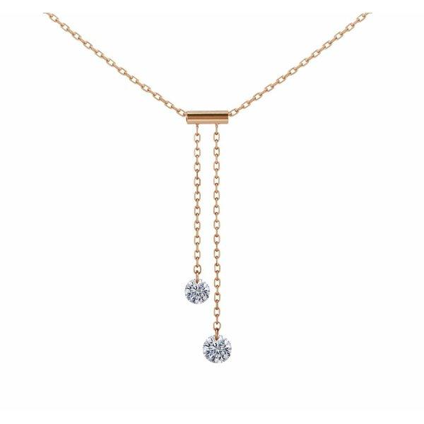 Halskette Cravatte Roségold / 2 Diamanten