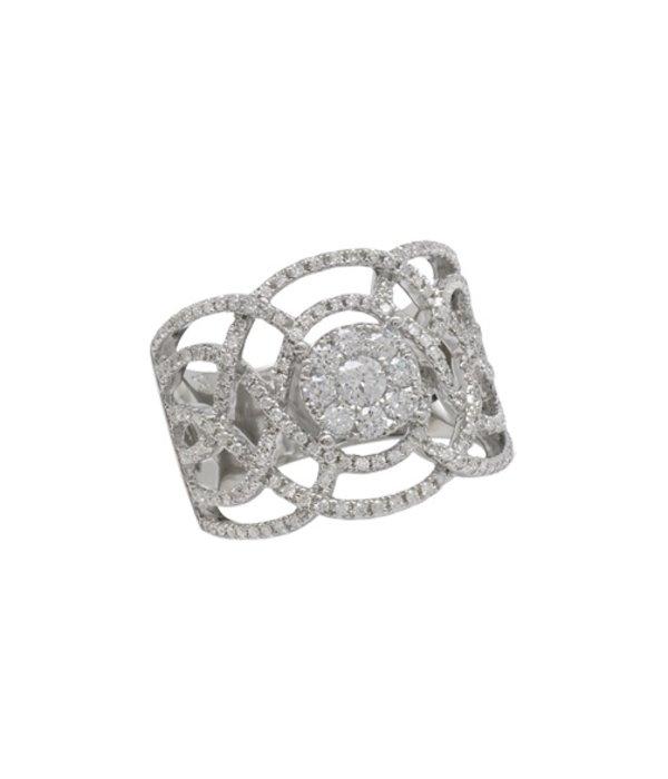 Djula Ring Dentelle aus 18 Karat Weißgold mit Diamanten