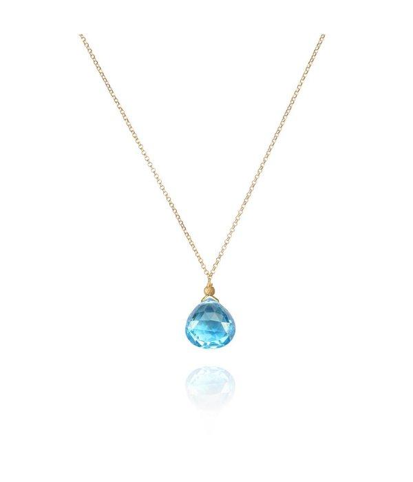 Perle de Lune Halskette Drop Blauer Topaz