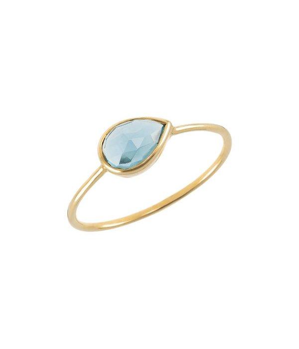 Perle de Lune Ring Solo Blauer Topaz